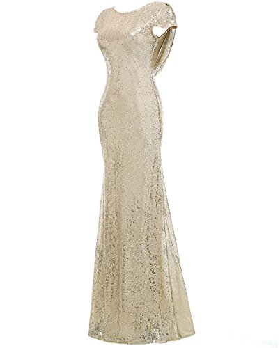 Formal Women's Evening Gown Dress Bridesmaid Solovedress Long Silver Prom Mermaid Dresses Sequined UYqxp1f