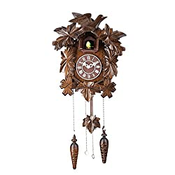 11-inch Mini Forester Bird Family Art Cuckoo Clock, Home Decor, Birdhouse Design with Cuckoo Bird Chime - C00137
