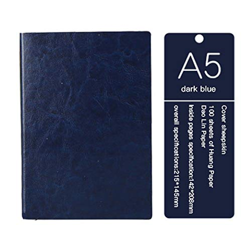 Classic NotebookA5 Wide Ruled Hardcover Writing Notebook for Office Home School Business Writing Note Taking Journaling (deep Blue, 145mmx210mm)