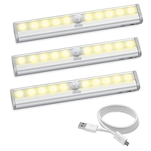 AMIR 10 LED Motion Sensing Closet Lights, 3 Pack, DIY Stick-on Anywhere, Wireless Night Light for Cabinet, Closet, Wardrobe, Stairs, Step Light with Magnetic Strip ,Puck Lights(USB Rechargeable) (Cordless Closet Light)
