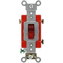 Leviton 1221-PLR 20-Amp, 120 Volt, Toggle Pilot Light, Illuminated On, Req, Neutral Single-Pole AC Quiet Switch, Extra Heavy Duty Grade, Self Grounding, Red