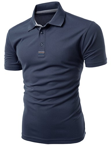 Men's Daily Casual Wear Twisting Jacquard Polo Collar T-Shirt KWTTS093M_NAVY (Navy Jacquard Polo)