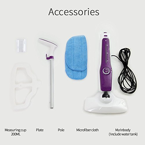 HYD-PARTS Steam Mop,1000W/11OZ Microfiber Pocket Tile Steam Cleaner,Wood Floor Cleaner Home use Purple Color by HYD-PARTS (Image #4)