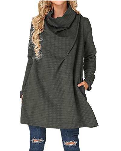 ZANZEA Womens Cowl Neck Plus Size Sweater A Line Swing Dress Turtleneck Knitted Sweatshirt Long Sleeve Dark Grey US 22W