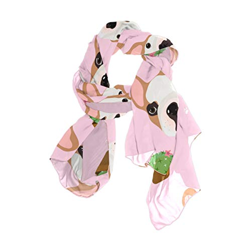 MOFEIYUE French Bulldogs Cactus Women Scarf Long Soft Chiffon Neck Scarves Wrap Shawl for Ladies Girls