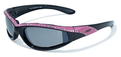 Rhinestone Chopper (Global Vision Eyewear Black and Pink Frame Marilyn 11 Ladies Riding)