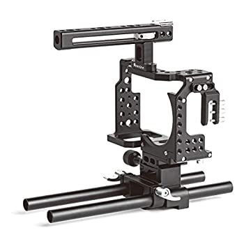"""Image of ANNSM Camera Cage Kit for Sony A7 Series Such as A7K,A72,A7R2,A7SII,A7R3,A7X etc with Removable 1/4"""" Screw Quick Release Plate and 15mm STD Rail Rods for Matte Box, Follow Focus etc Stabilizers"""