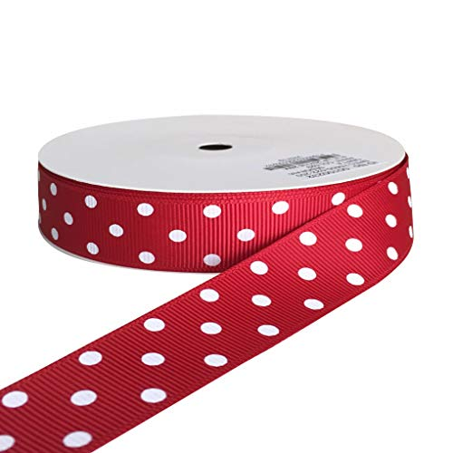 kailin 7/8 Inch Wide Red Grosgrain Polka Dot Ribbons with White Dots 20 Yards