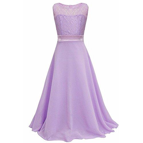 Tueenhuge Girls Wedding Dress Elegant Formal Lace Flower Dance Ball Party Dress(Violet,160)