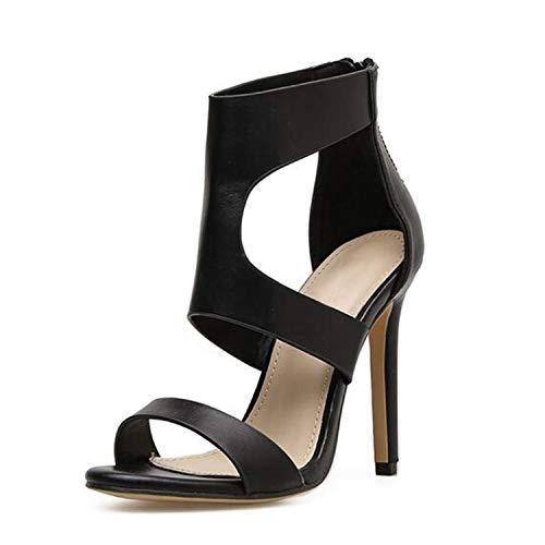 (Summer-lavender Retro Stiletto Heels Shoes Spring Autumn Zipper Peep Toe Hollow Out Sandals Ladies Shoes 999 7#,Black,4 )