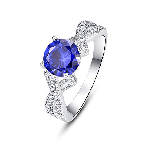 Celtic Cross Sapphire - BONLAVIE Promise Rings for Her with 925 Sterling Silver Round Cut Created Blue Sapphire White Cubic Zirconia CZ Size 6