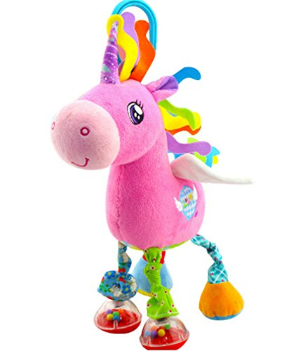 for Baby Car Seat Crib Stroller Plush Stuffed Animal Hanging Rattles 0-3 Years Activity Toy (10 inches, Unicorn) (Horse Infant Rattle)