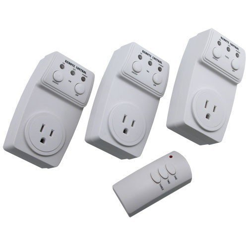 Wireless Remote Control Outlet Switch Socket 3 Pack (3 Outlets) BATTERY INCLUDED