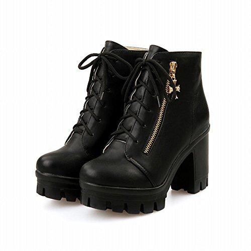 Carolbar Womens Sweet Fashion Elegance Cross Rits Decoraties Cute Platform High Chunky Heel Martin Boots Zwart