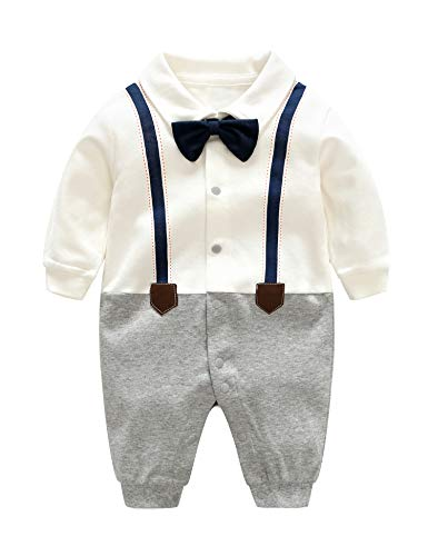(D.B.PRINCE Baby Boys Long Sleeves Gentleman Cotton Rompers Small Suit Bodysuit Outfit with Bow Tie (White+Navy, 12-24 Months))