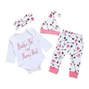 EKIMI Newborn Infant Baby Girl Clothes Letter Romper Top+Pants+Hat Outfits Clothes Set (70)