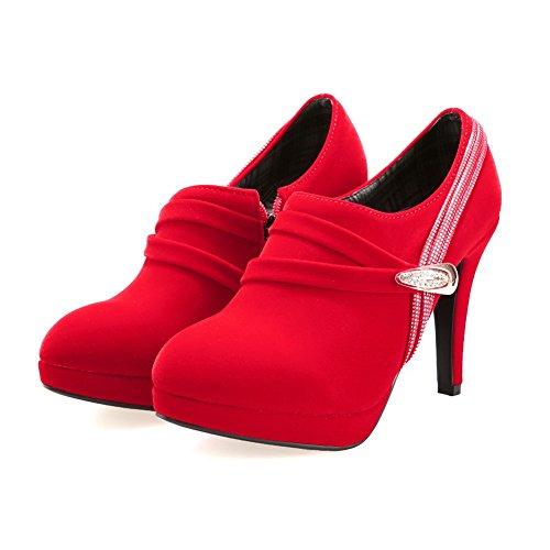 Amoonyfashion Dames Ronde Neus Gesloten Neus Hoge Hakken Laarzen Met Ritsen En Platform Rood