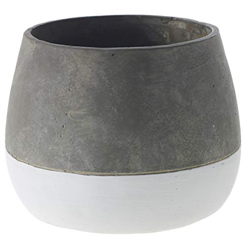 Grey and White Round Ceramic Planter - 6.75 X 6.75 X 5.25 Inches - Accent Decor Ash Cement Pot - Modern Vase Decor for Home or Office.