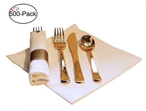 Tiger Chef 500-Pack 16-inch Pre Rolled Cutlery in Linen-Feel White Napkins and Gold Heavy Weight Plastic Silverware with Napkin Band Set, Includes Forks, Spoons and Knives in Rolled Napkins BPA-free by Tiger Chef
