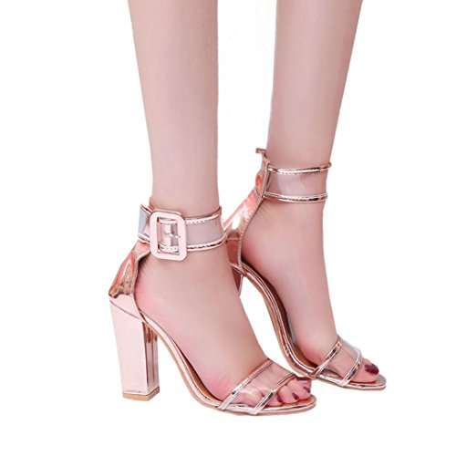 PENATE Women's Fashion Heeled Sandals Summer Slim Cool Super High Heel Sexy Party Wedding Wedge Shoes (5.5 B(M) US, Gold)