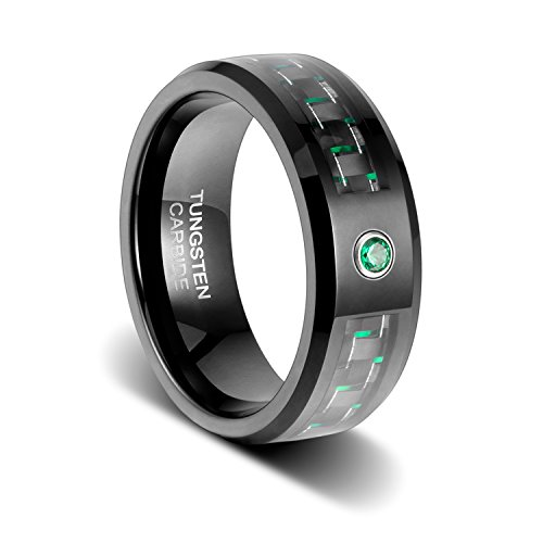 TUSEN JEWELRY 8mm Black Wedding Band Carbon Fibre with Beveled Edges and Emerald Green Cubic Zirconia Inlay Tungsten Ring Size:10.5 (Rings Engagement Green Mens)
