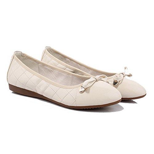 AgooLar Damen Ziehen auf Rund Zehe Ohne Absatz Lackleder Rein Flache Schuhe, Rot, 40