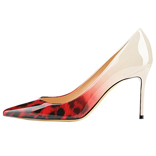 Lovirs Womens Leopard-Red Office Basic Slip on Pumps Stiletto Mid-Heel Pointy Toe Shoes for Party Dress 8 M US