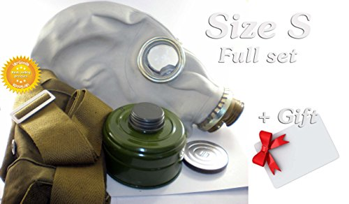 Improved Size - 1 (Small) Soviet Russian Military Gas mask GP-5. Grey rubber. Full set + GIFT