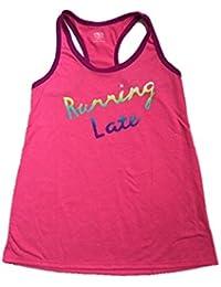 Tank Top Graphic T-Shirt Running Late, Medium, Fuschia Pink
