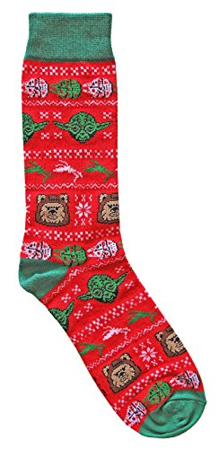 Hyp Star Wars Wicket Ewok/Yoda Ugly Sweater Pattern Men's Crew Christmas Socks