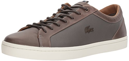 Lacoste Men's Straightset Sneakers, Grey/Off White Leather,10.5M US by Lacoste