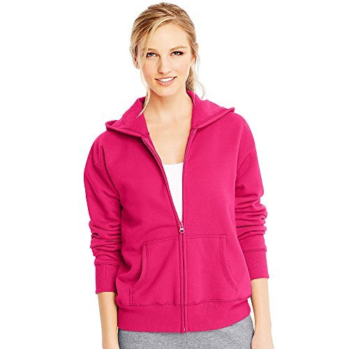 Hanes ComfortSoft EcoSmart Women's Full-Zip Hoodie Sweatshirt_Sizzling Pink_M by Hanes