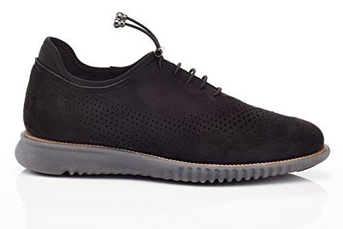 Solo Hombres Graham Casual Perforado Moda Oxford Sneaker Negro Ante