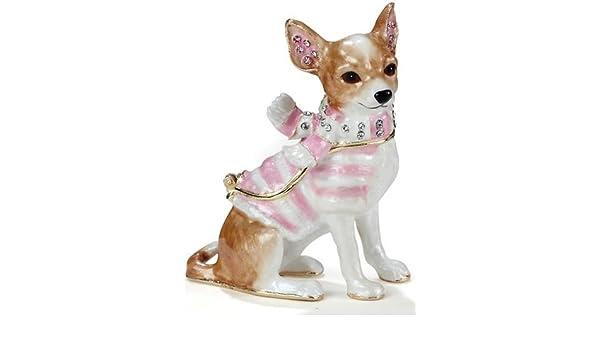 Chihuahua Perro con Perchero Bejeweled Caja Joyero con ...