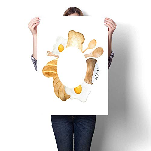 The Picture Print On Canvas Hand Drawn Breakfast Circle Frame Illustration Bread Fried Egg and Rice in Bowl Drawing Natural Art L32 xK24