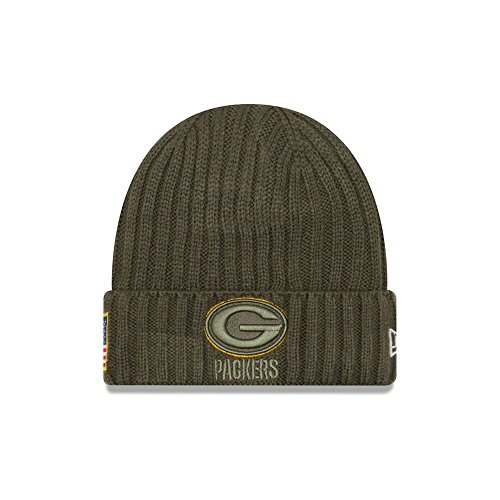 (New Era Men's Men's Packers 2017 Salute to Service Cuffed Knit Hat Olive Size One Size)