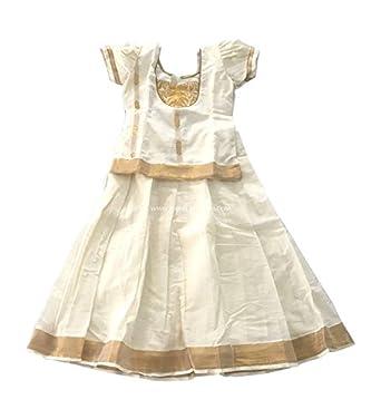 a1cd89013f Pattu Pavadai Kid's Raw Silk Traditional Kerala Kasavu (PP440_4Y, Golden)