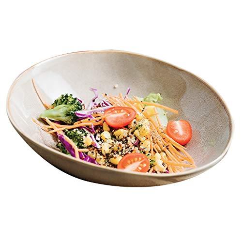 (Household oblique mouth sauce bowls ceramic sugar bowl dessert bowl creative vegetable salad bowl shaped bowl (Color : Brown, Size : 209.55.3cm))