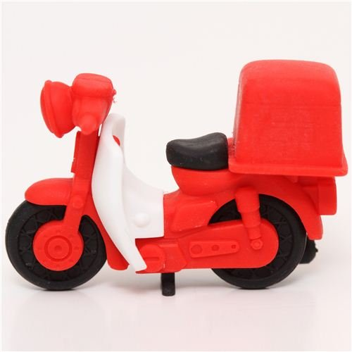 red mail bike eraser by Iwako delivery scooter