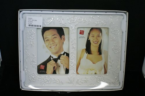 (Russ Berrie Double Porcelain Wedding Photo Picture Frame)