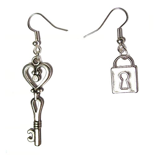 nd Lock Silver Plated Dangle Hook Charms Valentine's Day Gift Earrings ()