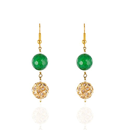 Be You Jolie couleur verte perlée navratan kundan meena travail laiton boucles d'oreilles et collier pour les femmes
