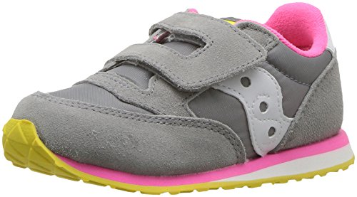 Saucony Jazz Hook & Loop Sneaker (Toddler/Little Kid),Grey/Pink,9 W US Toddler