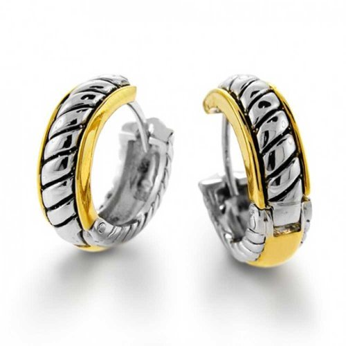 Two Tone Twist Cable Rope Kpop Huggie Hoop Earrings For Women For Men Hinge Gold Silver Plated ()