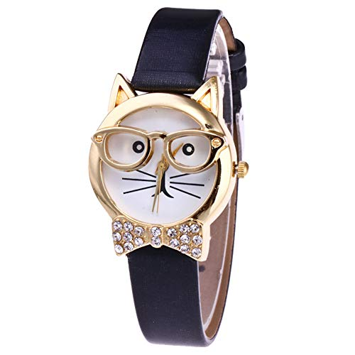 - wsloftyGYd Cute Cat Face Round Dial Rhinestone Faux Leather Women Analog Quartz Wrist Watch Animal cat face Diamond Bow-tie Glasses cat Women's Quartz Watch Black