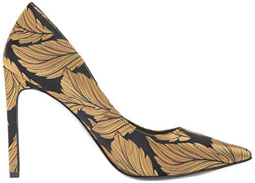 Nove Donne Pompa Ovest Di Tessuto Vestito Tatiana Piuma Della Stampa Nero-oro