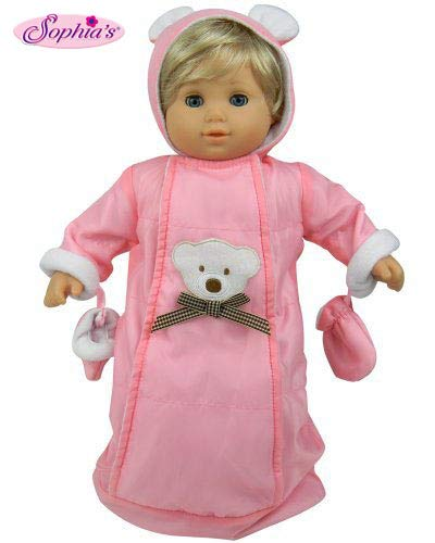 Sophia's 15 Inch Doll Clothes Baby Doll Snowsuit Set, Fits 15 Inch American Girl Bitty Baby & More! Pink Polar Bear Snowsuit, Gloves & Hood (Ts Love Doll)