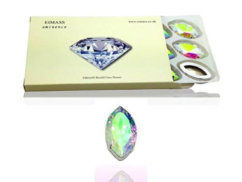 Pack of 10 (17 x 32mm, Crystal AB Horse Eye), EIMASS® Exquisite Multi Shape Sew on Glue on Point Back Glass Crystals in Silver Settings