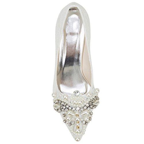 Chaussures Pointu Bridal Haut Emily Strass Ivoire Mariage Dentelle de Perles Pompe Bout Beige Talon en RfwBw5xq