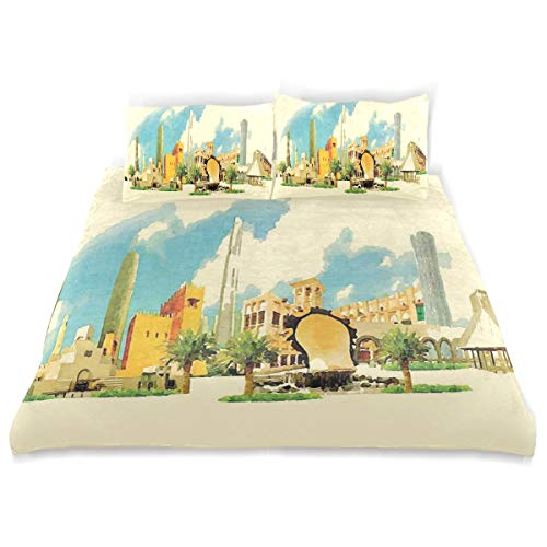 YCHY Decor Duvet Cover Set, Doha Historical Arabian Qatar Avant Garde Watercolor Panorama with Brush Strokes A Decorative 3 Pcs Bedding Set with Pillowcases, Twin/Twin XL